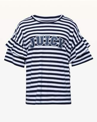 Juicy Couture Jxjc Striped Juicy Logo Ruffle Sleeve Tee