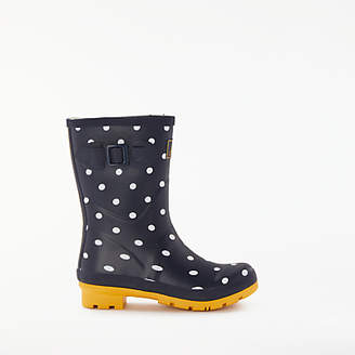Joules Molly Spot Print Wellington Ankle Boots, Navy/Multi