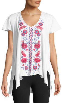 Johnny Was Sloane Embroidered Draped Tee