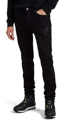 Givenchy Men's Flame-Motif Distressed Skinny Jeans