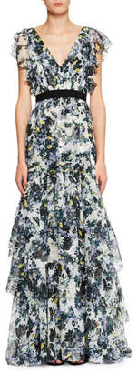Erdem Perry Ruffled Floral Silk Gown