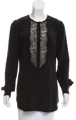 Lela Rose Lace-Accented Silk Top