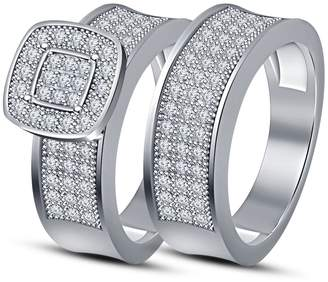 TVS-JEWELS 925 Sterling Silver Round Cut CZ Bridal Engagement Wedding Ring Set For Women's (11.5)