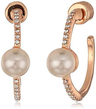 Kenneth Cole New York Womens Crystal and Pearl Hoop Earrings