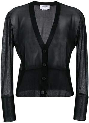 Thom Browne Sheer Classic V-neck Cardigan In Silk Tulle Knit