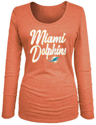 5th & Ocean Women Miami Dolphins Long Sleeve Triblend Foil T-Shirt