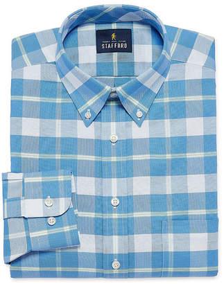 STAFFORD Stafford Travel Wrinkle Free Oxford Long Sleeve Plaid Dress Shirt- Big And Tall