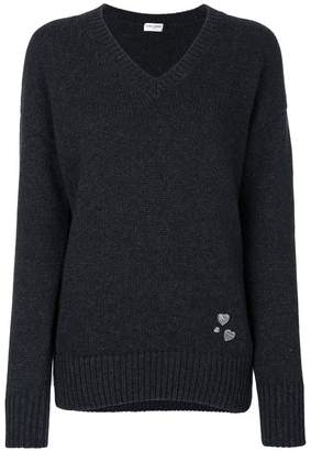 Saint Laurent heart pin knitted jumper