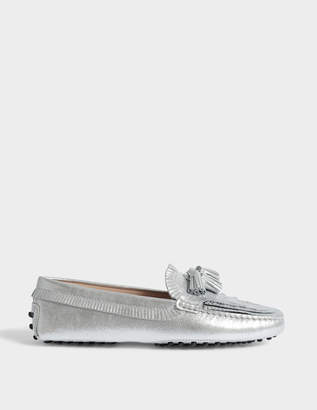 Tod's Gommino Fringed Small Tassles Moccasins in Silver Metallic Leather