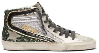 Golden Goose Glitter And Metallic High Top Leather Trainers - Womens - Green Silver