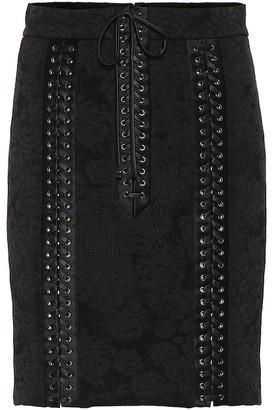 Dolce & Gabbana Lace-up silk jacquard skirt