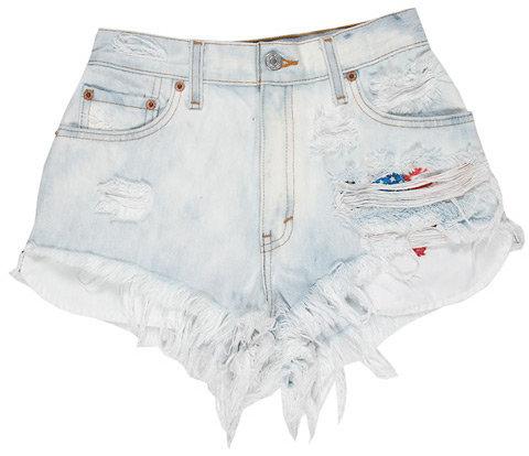 Singer22 Vintage Denim Cut Off Shorts in Faded Denim - by RUNWAYDREAMZ
