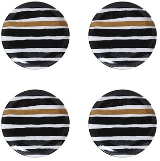 Better Homes & Gardens Outdoor Melamine Black Gold Stripe Salad Plates, Set of 4