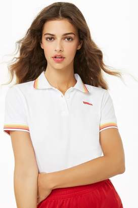 Forever 21 Wilson Striped-Trim Polo Logo Shirt