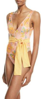 Tularosa Claudia Belted Floral One-Piece Swimsuit