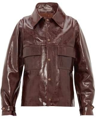Bianca Saunders - Barlon Leather Biker Jacket - Mens - Brown