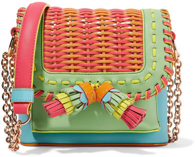 Sophia Webster - Claudie Woven Pvc And Leather Shoulder Bag - Coral