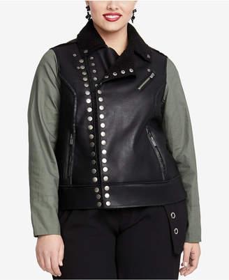 Rachel Roy Trendy Plus Size Studded Faux-Leather Moto Jacket