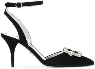 Prada pointed rhinestone pumps