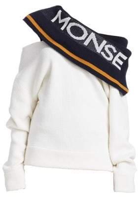 Monse Twist Logo Wool Shawl Sweater