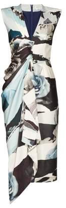 Alexander McQueen Gathered Rose Print Silk Crepe Midi Dress - Womens - Blue Multi
