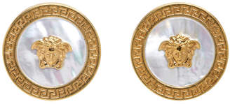 Versace Gold Pearl Small Medusa Coin Earrings