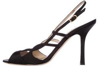 Oscar de la Renta Satin Peep-Toe Sandals
