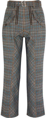 Self-Portrait Lexi Ruffled Prince Of Wales Checked Woven Straight-leg Pants - Gray