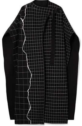 Akris Reversible Checked Cashmere-blend Cape - Black