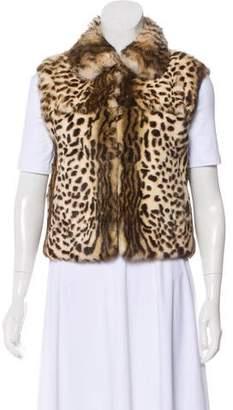 Adrienne Landau Fur Animal Print Vest