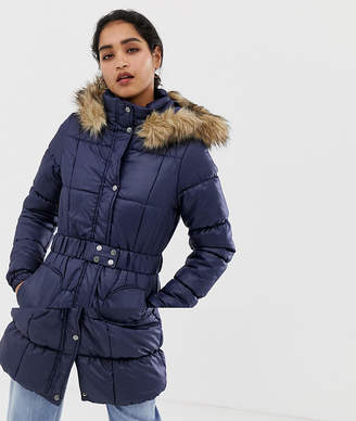Vila Belted Faux Fur Trim Padded Coat