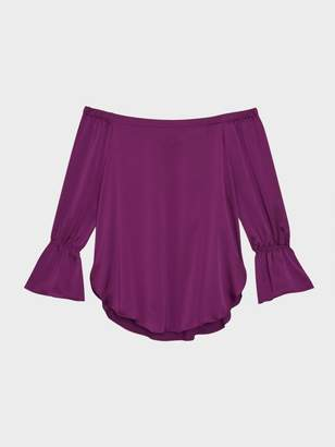 Donna Karan Donnakaran Satin Off-The-Shoulder Ruffle Sleeve Top Magenta XS
