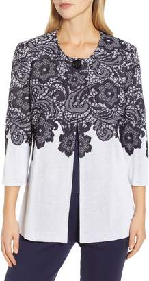 Ming Wang Lace Look Jacquard Knit Jacket
