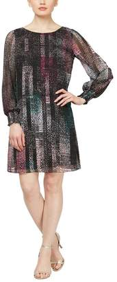 SL Fashions Abstract Print Long Sleeve Shift Dress