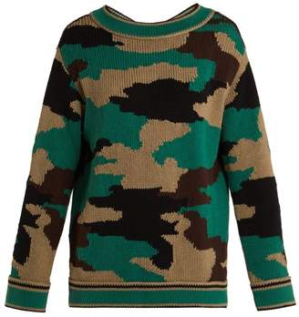 Burberry Camouflage Knitted Cotton Sweater - Womens - Khaki