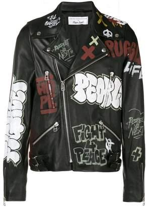 Faith Connexion graffiti biker jacket
