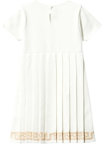 Young Versace White Pleated Dress with Embroidered Hem and Detail