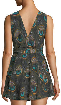 Show Me Your Mumu Corinne Crossover Peacock-Print Dress