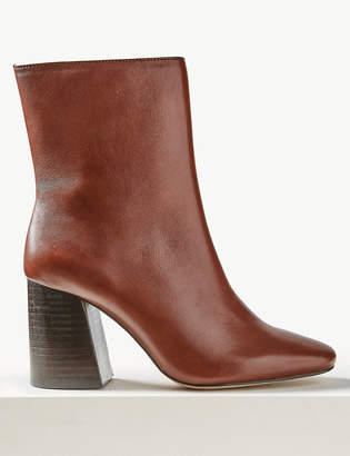 M&S Collection Leather Block Heel Side Zip Ankle Boots