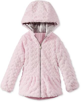 London Fog Little Girls' Faux-Fur Reversible Hearts Coat $85 thestylecure.com