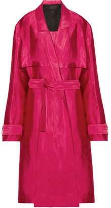 Haider Ackermann - Linen-blend Trench Coat - Red $2,055 thestylecure.com