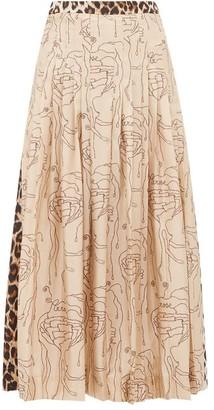 La Prestic Ouiston Gabrielle Abstract & Leopard Print Silk Midi Skirt - Womens - Leopard