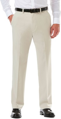 Haggar Men's Cool 18 PRO Straight-Fit Wrinkle-Free Flat-Front Super Flex Waist Pants
