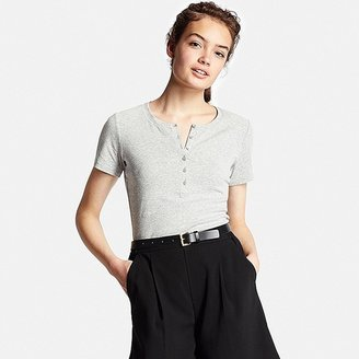Women's Supima(R) Cotton Short Sleeve Henley Neck T-Shirt $14.90 thestylecure.com