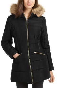Celebrity Pink Juniors' Faux-Fur-Trim Hooded Puffer Coat