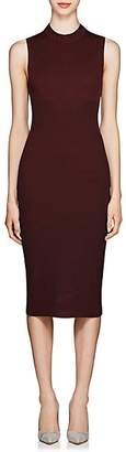 Victoria Beckham Women's Rib-Knit Cotton-Blend Midi-Dress - Burgundy - Navy