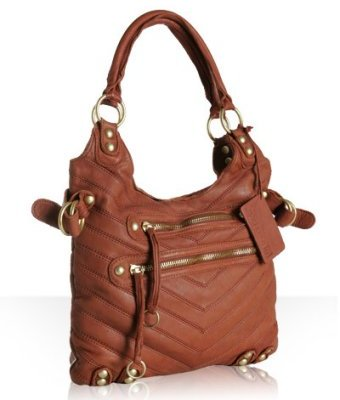 Linea Pelle tobacco leather 'Dylan Patchwork' tote