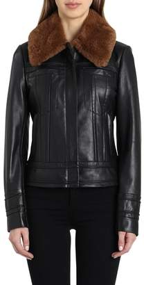 Badgley Mischka Leather Aviator Jacket with Genuine Shearling