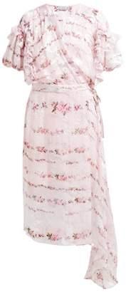 Preen by Thornton Bregazzi Ashley Floral Print Devore Midi Dress - Womens - Pink Multi