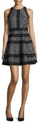 Parker Garnet Floral Lace-Trim Cocktail Dress, Black $345 thestylecure.com